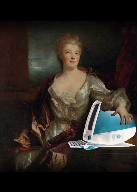 Émilie du Châtelet and Her iMac G3, after Nicolas de Largillière by Mike Licht